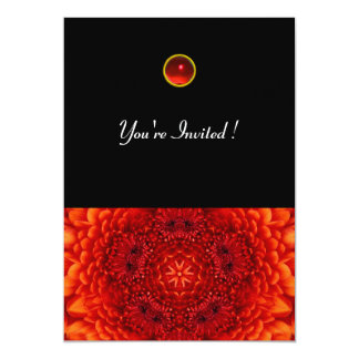 RED DAHLIA, RUBY,   bright  black 5x7 Paper Invitation Card