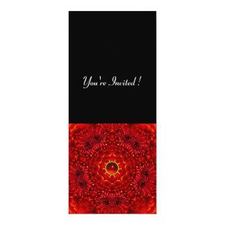 RED DAHLIA, RUBY,   bright  black 4x9.25 Paper Invitation Card