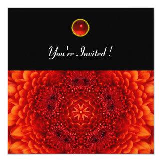 RED DAHLIA, RUBY,   bright  black 5.25x5.25 Square Paper Invitation Card