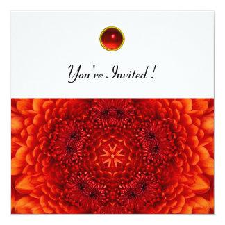 RED DAHLIA, RUBY,   bright  black white 5.25x5.25 Square Paper Invitation Card
