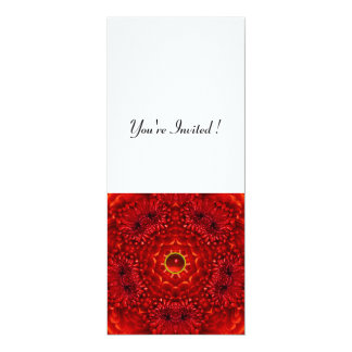 RED DAHLIA, RUBY,   bright  black white 4x9.25 Paper Invitation Card