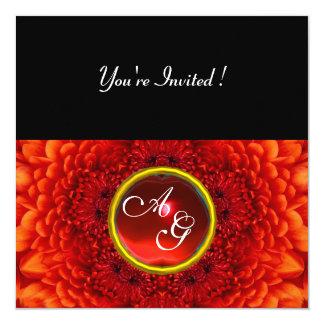 RED DAHLIA, RUBY monogram ,bright  black 5.25x5.25 Square Paper Invitation Card