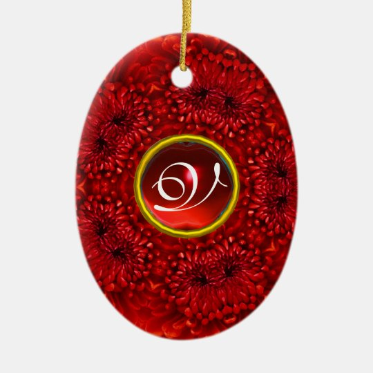 RED DAHLIA RUBY MONOGRAM CERAMIC ORNAMENT