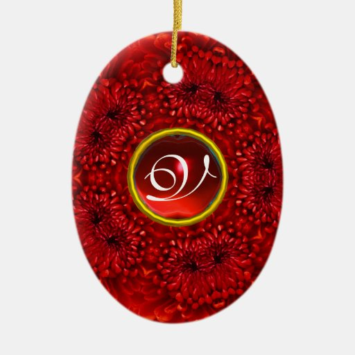 RED DAHLIA RUBY MONOGRAM Double-Sided OVAL CERAMIC CHRISTMAS ORNAMENT