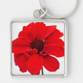Red Dahlia Silver-Colored Square Keychain