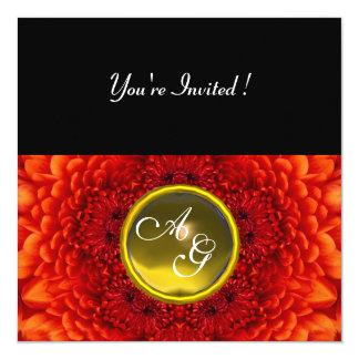 RED DAHLIA, TOPAZ monogram ,bright  black yellow 5.25x5.25 Square Paper Invitation Card