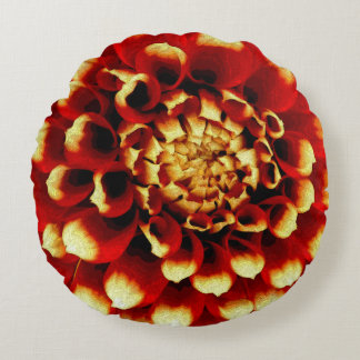 Red Dahlia with Blue lady Round Pillow