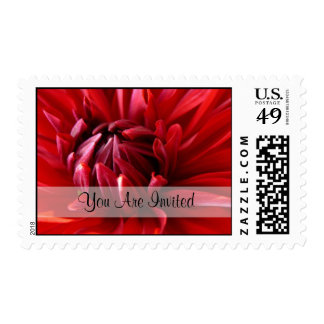 Red Dahlia You Are Invited Medium Postage Stamps