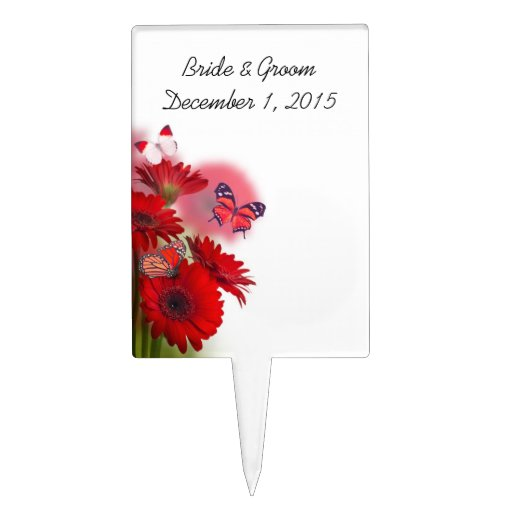 Red Daisies and Butterflies Party Cake Topper