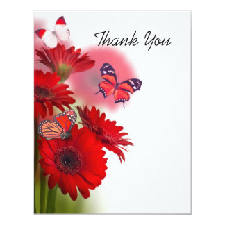 Red Daisies and Butterflies Thank You Card