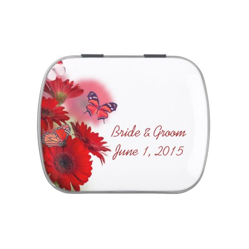 Red Daisies and Butterflies Wedding Candy Tins