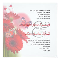 Red Daisies and Butterflies Wedding Invitation 5.25&quot; Square Invitation Card (<em>$2.31</em>)