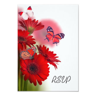Red Daisies and Butterflies Wedding RSVP Card
