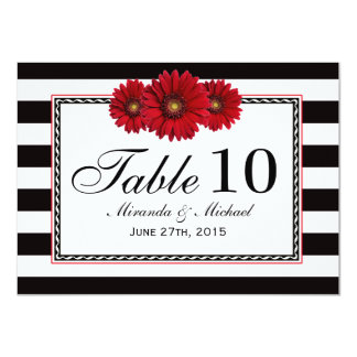 """Red Daisies and Stripes Wedding Table Cards 4.5"""" X 6.25"""" Invitation Card"""