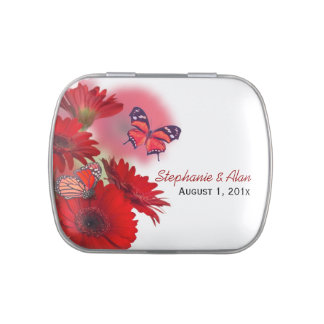 Red Daisies Butterfly Wedding Candy Tins