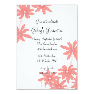 Red Daisies Graduation Party Invitation