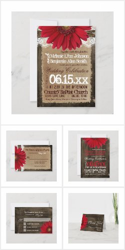 Red Daisy Barn Wood Wedding Invitation Set