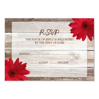 "Red Daisy Barn Wood Wedding RSVP Response Card 3.5"" X 5"" Invitation Card"