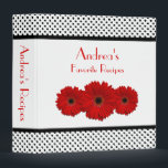 """Red Daisy Black and White Polka Dot Recipe Binder<br><div class=""""desc"""">The text on this black and white polka dot red gerbera daisy recipe binder is fully customizable. Really, it can be used as any kind of personalized binder. All you need to do is change the text. To change the text use the personalize options. For more extensive changes to this...</div>"""