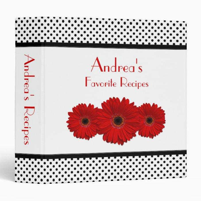 Red Daisy Black and White Polka Dot Recipe Binder