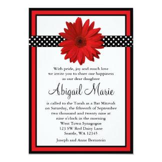 Red Daisy Black Polka Dots Bat Mitzvah 5x7 Paper Invitation Card