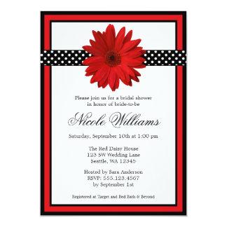 Red Daisy Black Polka Dots Bridal Shower 5x7 Paper Invitation Card