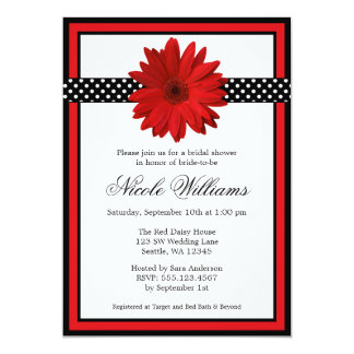 Red Daisy Black Polka Dots Bridal Shower Card