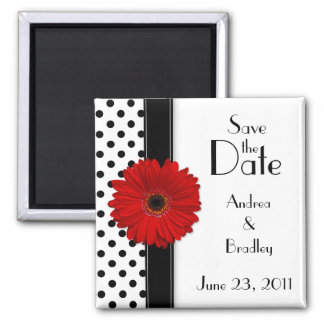 Red Daisy Black White Polka Dot Save the Date 2 Inch Square Magnet