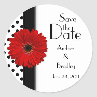 Red Daisy Black White Polka Dot Save the Date Classic Round Sticker