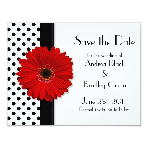Red Daisy Black White Polka Dot Save the Date 4.25x5.5 Paper Invitation Card