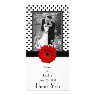 Red Daisy Black White Polka Dot Wedding Photocard Card