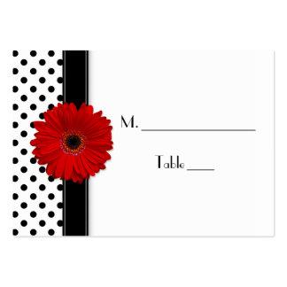 Red Daisy Black White Polka Dot Wedding Place Card