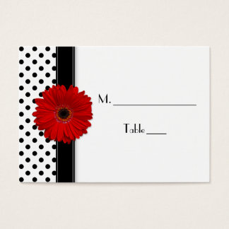 Red Daisy Black White Polka Dot Wedding Place Card