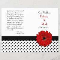 Red Daisy Black White Polka Dot Wedding Program