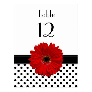 Red Daisy Black White Polka Dot Wedding Table Card