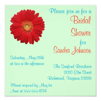 Red Daisy Bridal Shower Card