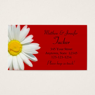 Red Daisy Bride & Groom Change of Address Cards