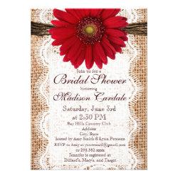 Red Daisy Burlap Bridal Shower Invitations