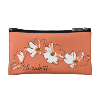Red Daisy Chain Cosmetic Bags