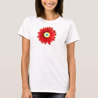 RED DAISY EVIL EYE LUCKY EYE FLOWER T-Shirt