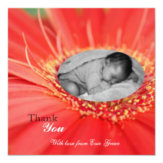 Red Daisy Flower Child Thank You Baby Announcement