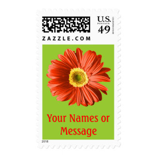Red Daisy Flower Custom Name/Text Postage Stamps
