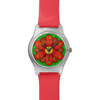 Red Daisy Flower on Green Beautiful Watch