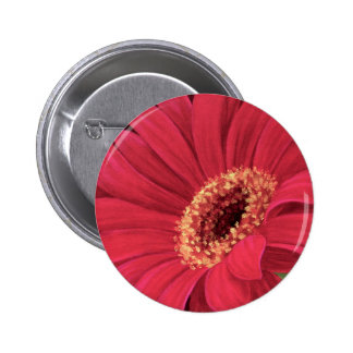 Red Daisy Flower Painting Art - Multi Buttons