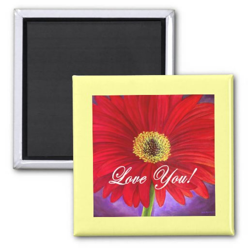 Red Daisy Flower Painting - Multi 2 Inch Square Magnet