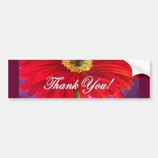 Red Daisy Flower Painting - Multi Car Bumper Sticker