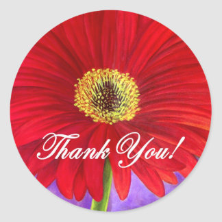 Red Daisy Flower Painting - Multi Classic Round Sticker