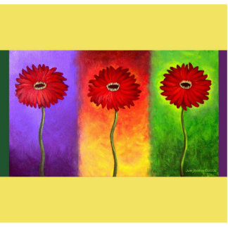Red Daisy Flower Painting - Multi Cutout