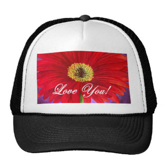 Red Daisy Flower Painting - Multi Mesh Hats