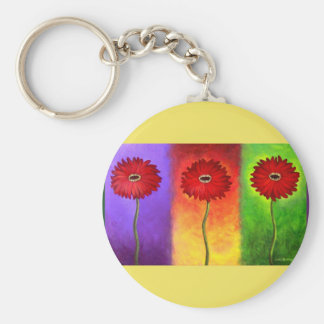 Red Daisy Flower Painting - Multi Keychains